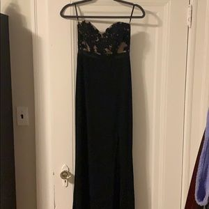 Black & Nude Floral Lace Gown NWT